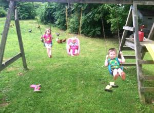 Playing on the swings, with an audience of chickens.